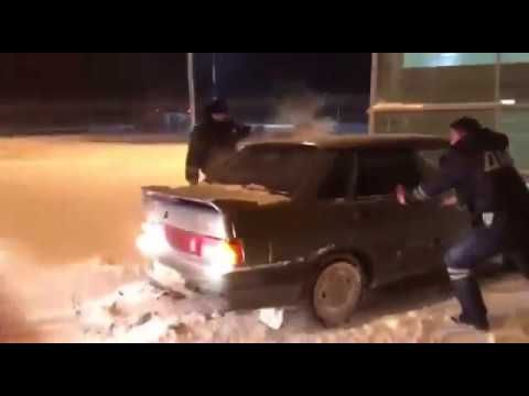 Russian drunk driver drives through airport terminal during police chase.