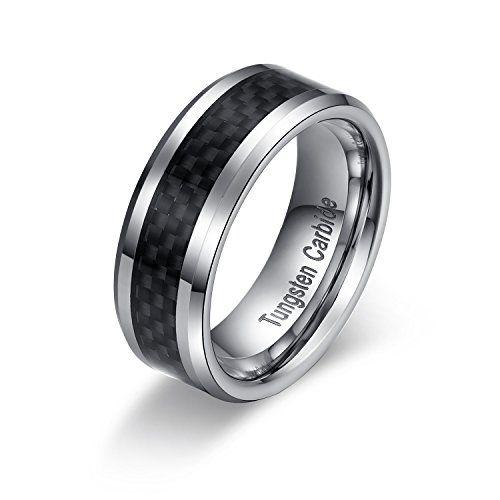 メンズ レディース タングステン リング 指輪, カーボン 炭素繊維 研磨 平打ち 結婚指輪,ブラック&シルバー(…
