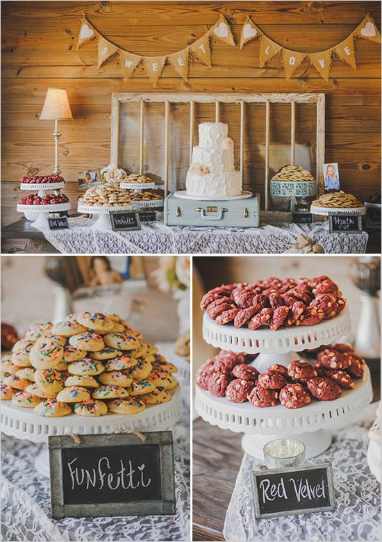 cookie and dessert table http://www.weddingchicks.com/2013/11/20/vintage-wedding-2/