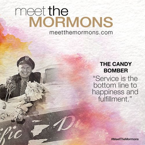 "http://pinterest.com/pin/24066179234010075 ""Meet The Mormons"": The Candy Bomber, Gail Halvorsen http://meetthemormons.com/post/94678516169/the-candy-bomber-col-gail-halvorsen-ret-known. Learn more http://meetthemormons.com; http://pinterest.com/pin/24066179233919262 In theaters 10/10/14! PASS IT ALONG."