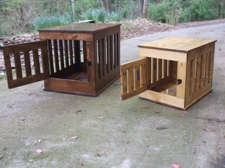 Dog Crate End Table, Wooden Dog Kennel, Indoor Wood Dog House by BlueLineGarage on Etsy