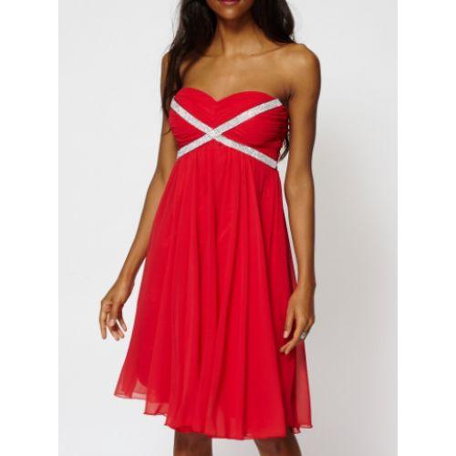 Vestido Fiesta Corto Vuelo Rojo   Suen-Vestidos de fiesta