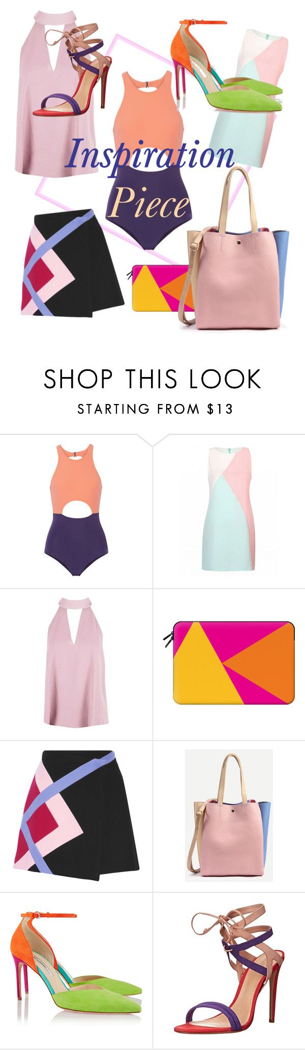 """Inspiration piece block color"" by craftyduoramz ❤ liked on Polyvore featuring Flagpole, Boohoo, Casetify, MSGM, Brian Atwood and Schutz"