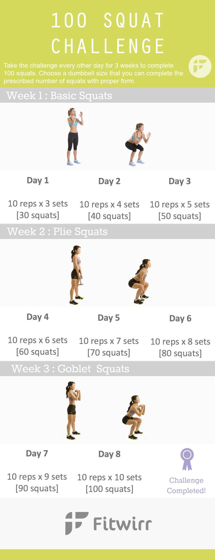 100 squat challenge for beginners: Squats are the go-to-exercise for toning the legs, butt and thighs. If you want a toned backside that looks great in bikini this season, take this 100 squat challenge for the next 3 weeks.