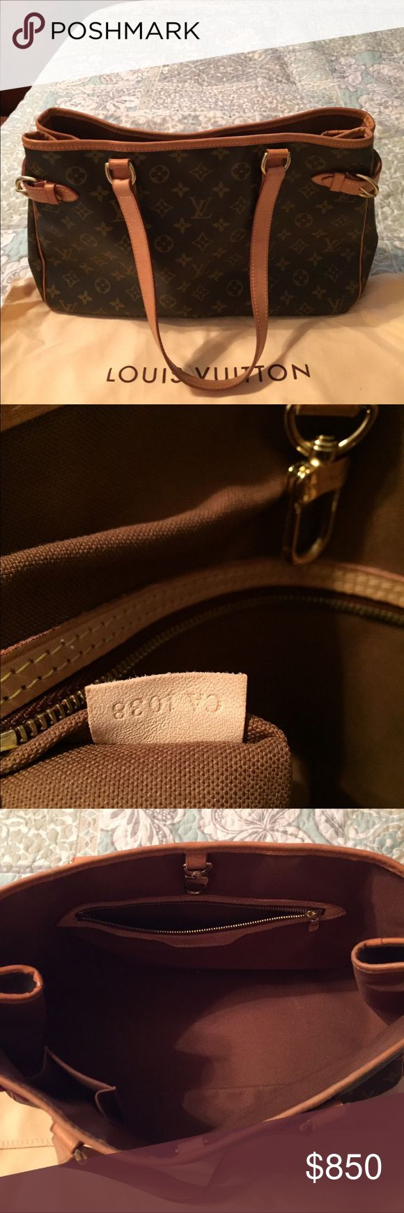 💯Authentic Louis Vuitton Battignolles This gorgeous gem is now retired from LV. Great everyday shoulder bag. Inside canvas has no stains or tears, has one zip packet and small cell phone holder. Outside  has no tears, holes, and the leather trim is now a beautiful Carmel patina with only slight surface dirt and aging. Very pretty bag. Date code-CA 1038 country of origin is Spain Louis Vuitton Bags