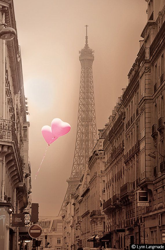 Paris Photography Eiffel Tower and heart balloons by LynnLangmade, $15.00