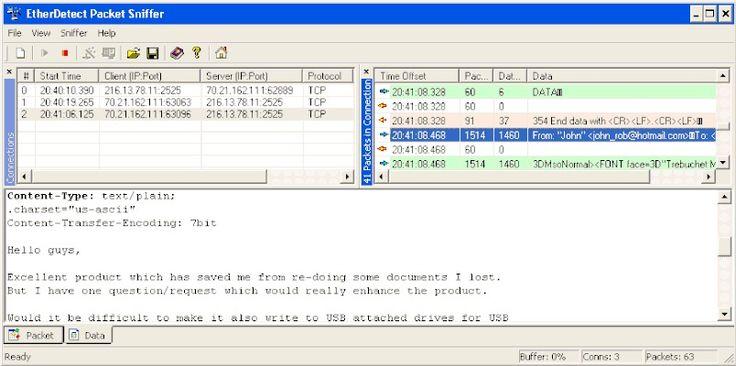 SMTP Server: Packet sniffer monitors