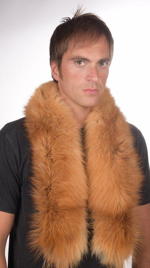 Sciarpa in pelliccia di volpe golden per uomo   www.amifur.it