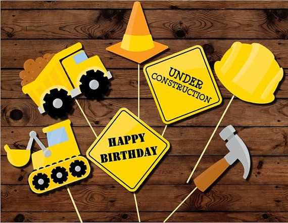 Construction Photo booth Party Props printable INSTANT DOWNLOAD, Monster truck party, boy birthday party, 1st birthday, Men at Work,