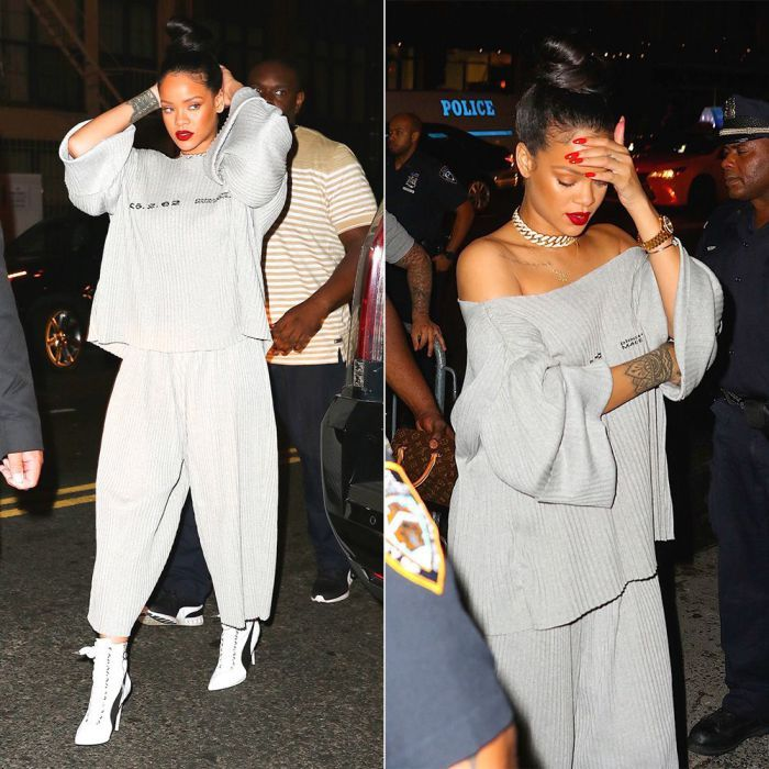 Rihanna Faustine Steinmetz pleated grey sweater and track suit bottoms, Fenty x…