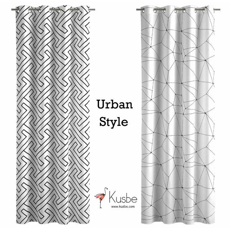 La combinación de dos colores como el blanco y el negro es y será una apuesta acertada en la decoración de tu casa. Cortinas tipo visillo blancas y negras para una decoración #urbanstyle #style #cortinas
