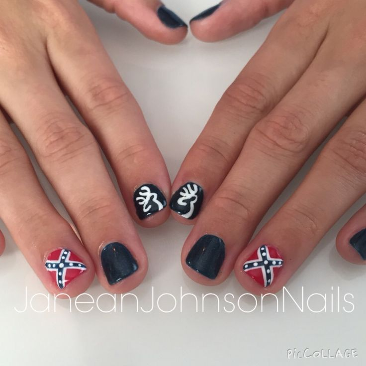Browning buck and rebel flag shellac nails #JaneanJohnsonNails                                                                                                                                                      More