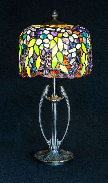 Duża+lampa+stojąca+Wisterie+inspirowana+Tiffanym+w+Ni'Finn+Handmade+na+DaWanda.com