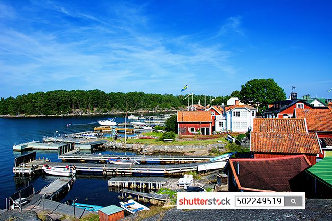 Fishing port on Sandhamn - a wonderful island in Sweden.