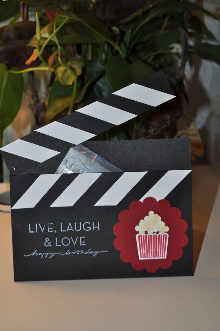 Stampin Up Gift card holder, using the cupcake punch as a popcorn bucket and itty bitty's as popcorn.. too cute!
