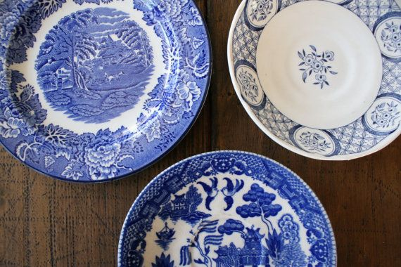 Collection of Plates Blue and White China Pattern by FoundByHer