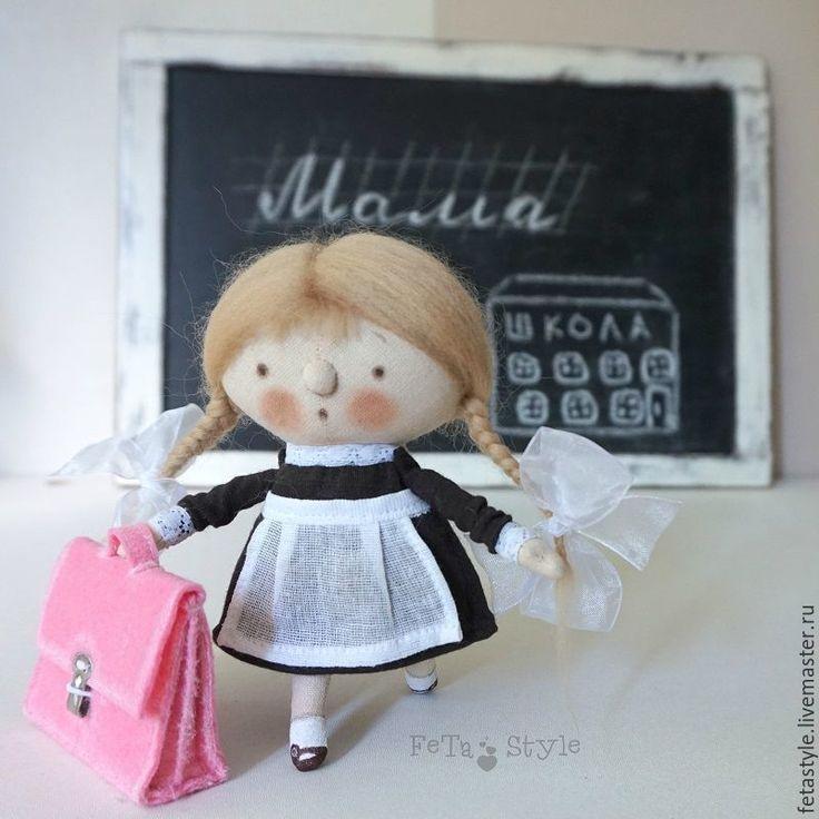 Купить Школьница и Портфель Кукла текстильная - кукла малышка, маленькая кукла, Маленькая куколка