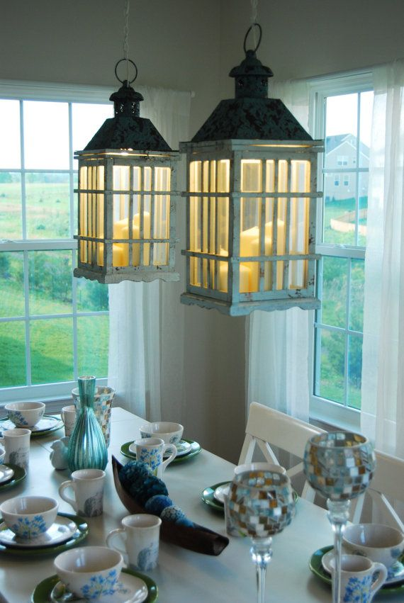 Dual Dining Room Lantern Chandelier Hanging Lights Rustic