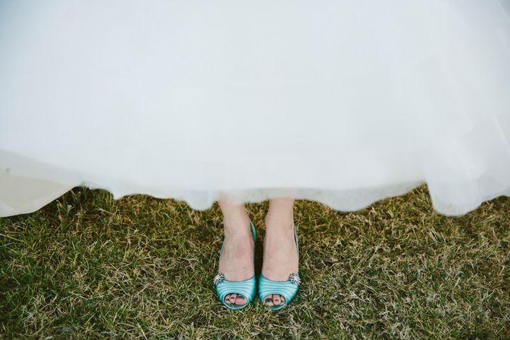 Blue wedding shoes for a pop of colour. Image: Cavanagh Photography http://cavanaghphotography.com.au