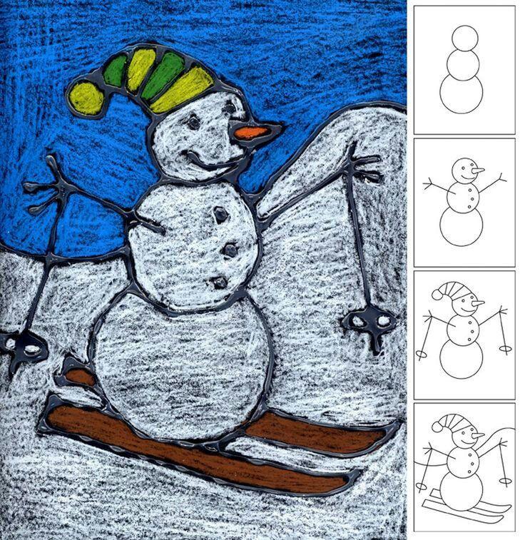Tekenen sneeuwpop op ski's