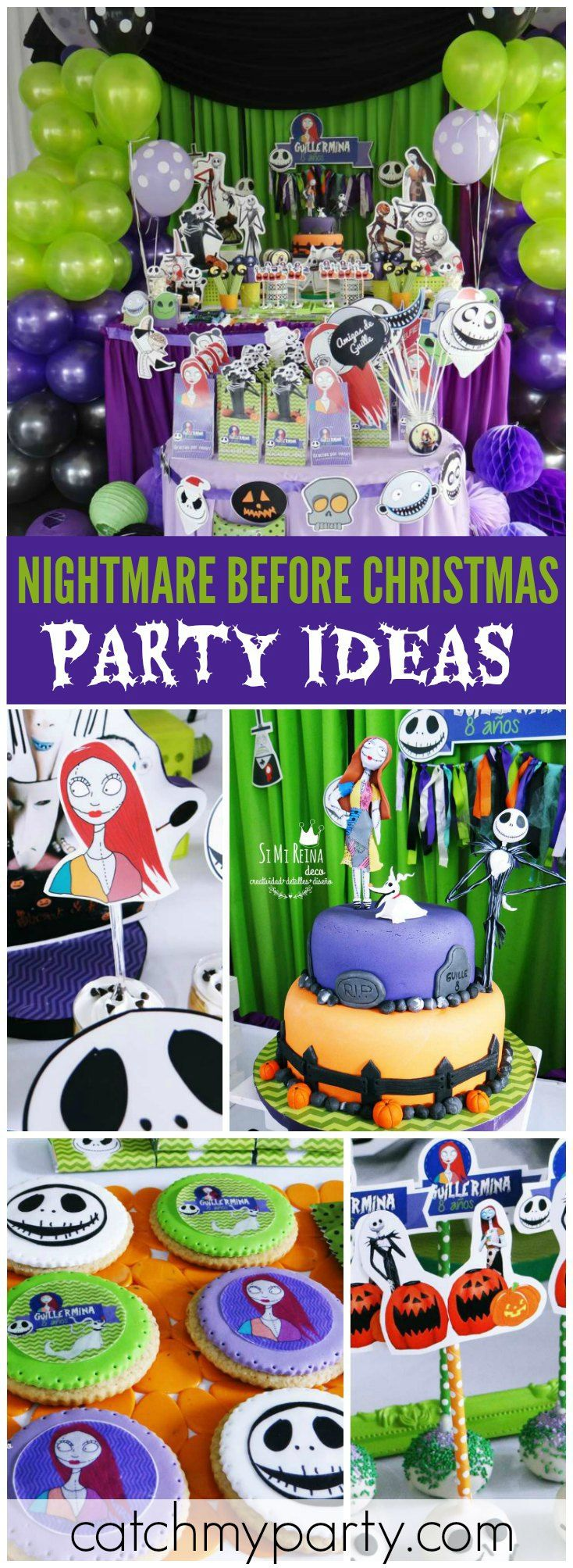 How cool is this Nightmare Before Christmas party?! See more party ideas at CatchMyParty.com!
