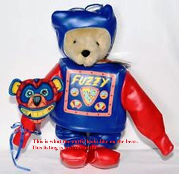 *Muffy vanderBear ~Santa's Workshop North Pole Fuzzy  Fuzzy as his Toy robot costume, his robot claws and control panel screened on to his jacket are reminiscent of old time Sci-Fi comics. Square robot boots, antennaed helmet and a paper robot mask. Introduced in 1994