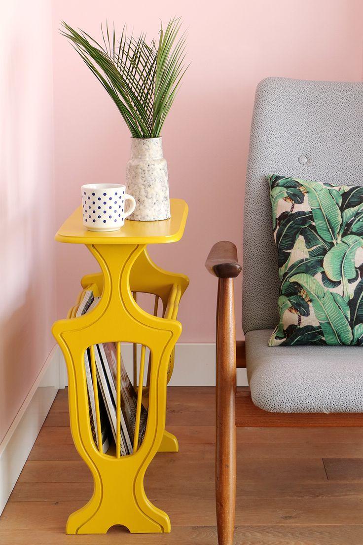MY ATTIC SHOP / yellow / magazine rack / sidetable / vintage furniture Photography: Marij Hessel www.entermyattic.com