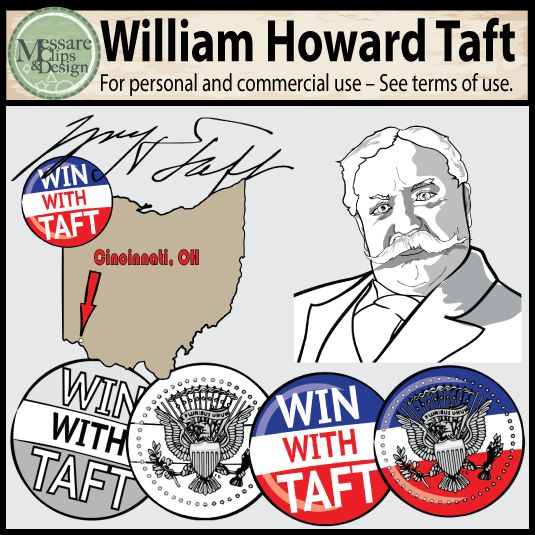 The President William H. Taft Clipart set contains 12 high resolution full color and black line PNGs. The set is designed to be coupled with my other US Presidential mini spotlight sets. This is a great set for Presidents Day, or any early American History lesson plans.