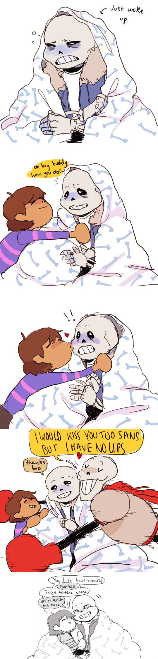 Sans, Frisk, and Papyrus - comic - http://dannyqhantom.tumblr.com/post/132748387510/sans-is-not-a-morning-personskeleton