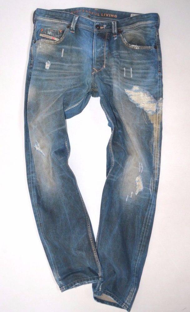 069bb89d Perfect mens DIESEL LARKEE-T 0068Z rip wash Regular TAPERED JEANS size W34  L32