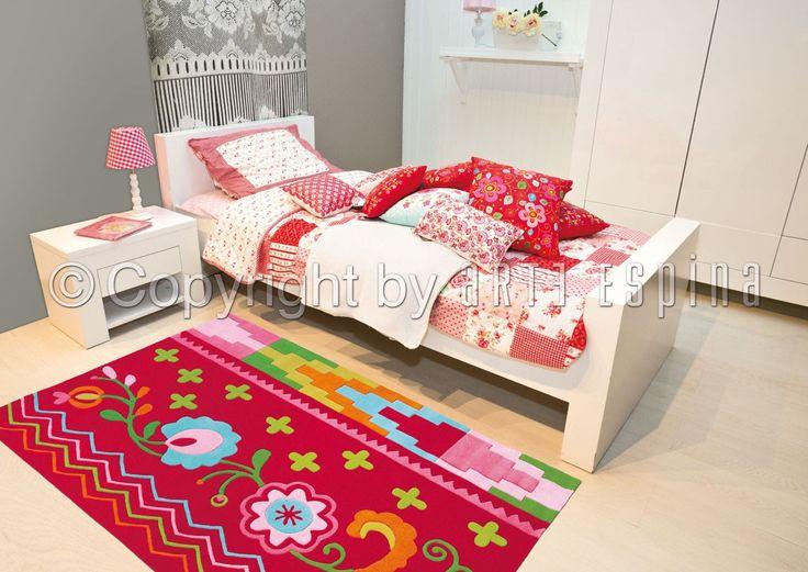 Romantisch bloemen vloerkleed voor de roze meisjeskamer met Oost ...