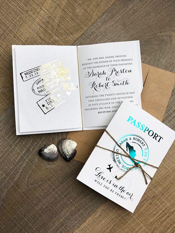 Custom for Jenn-Modern Passport Metallic wedding invitation
