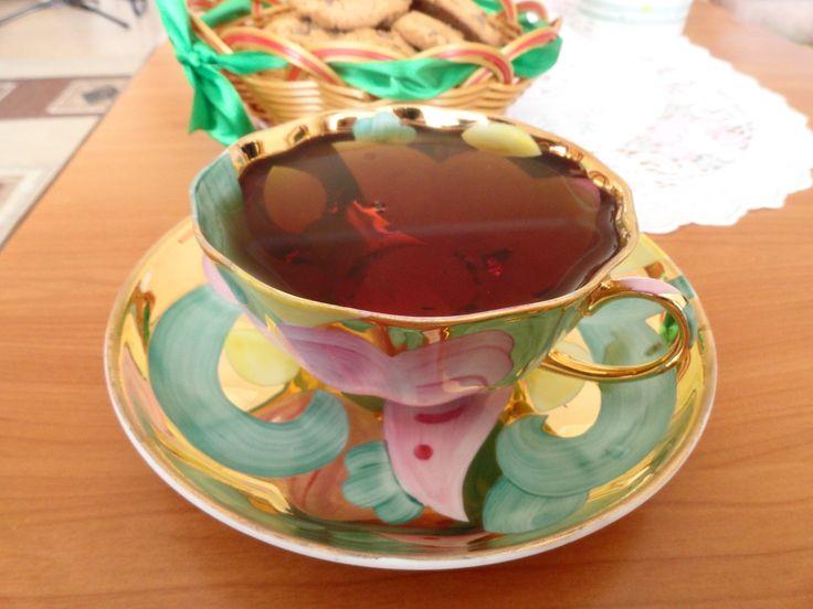 """Дулёво, чайная пара """"Розовая птица""""."""