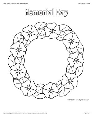 Memorial Day coloring page with a picture of poppy wreath to color