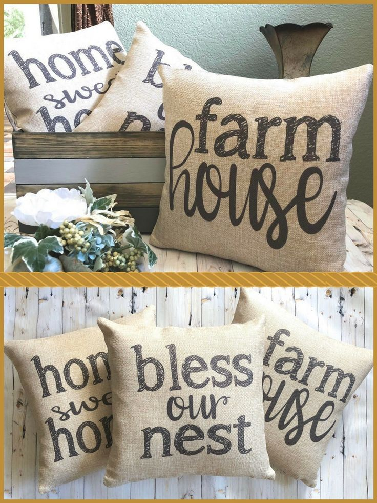 These Burlap Pillows will look great with farmhouse style home decor.Pillow - Farmhouse Pillow - Burlap Pillow - Rustic Country Decor - Home Decoration - Fixer Upper - French Farmhouse Decor #ad