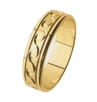 GENTS WEDDING RING, 6mm WIDE WITH GRAIN FINISH AND WAVE PATTERN.