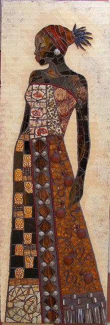 The Black Princess -mosaic wall relief- WIP by stiglice - Judit, via Flickr