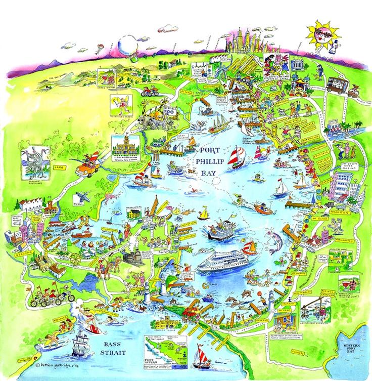 Map of Port Phillip Bay, Melbourne.  Design by Bettina Guthridge.