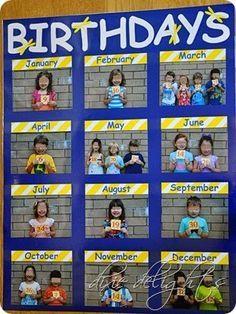 Cute photo chart for classroom birthdays