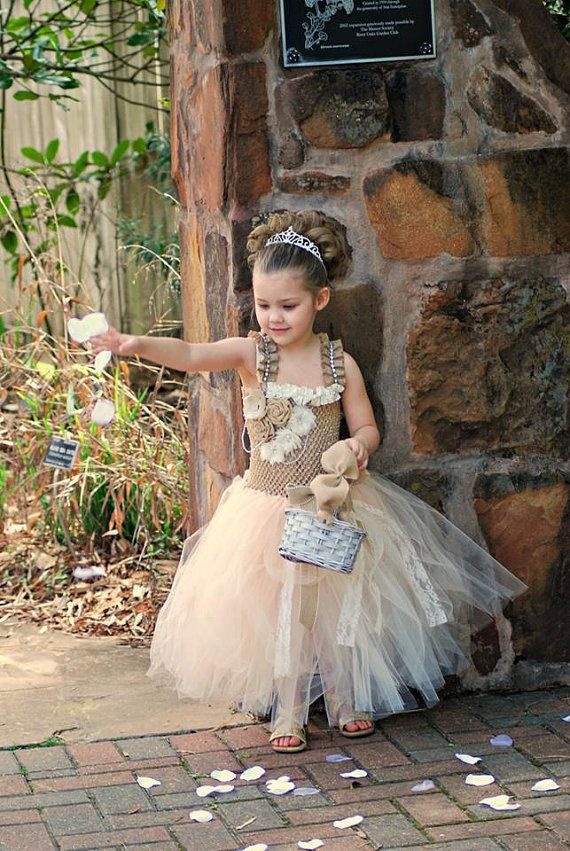 Rustic Burlap Vintage Inspired Ivory and Beige Lace Pearl Flower Girl Tutu Dress Infant to Girls on Etsy, $55.00