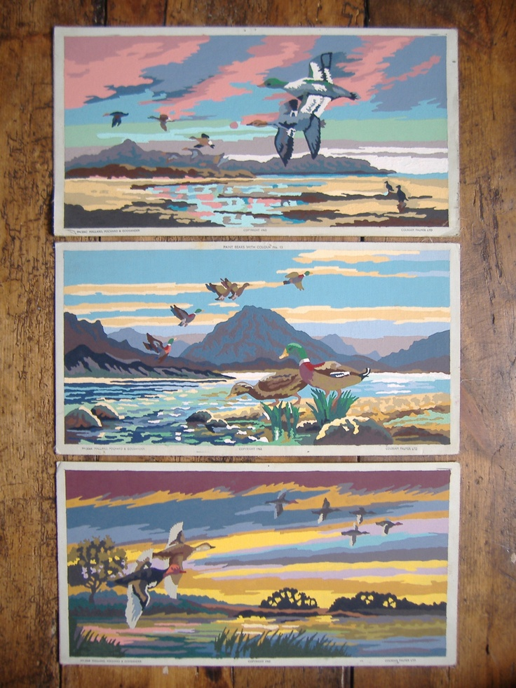 3 Painting by Numbers Flying Ducks 1960's - bliss