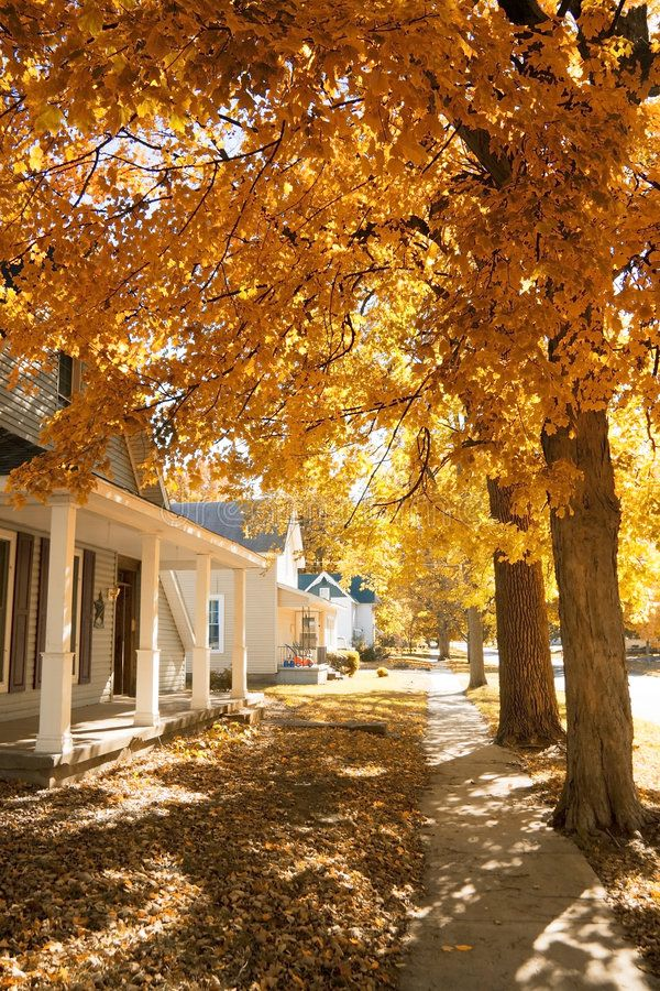 Fall in small town. Colorful fall scene in a small town in