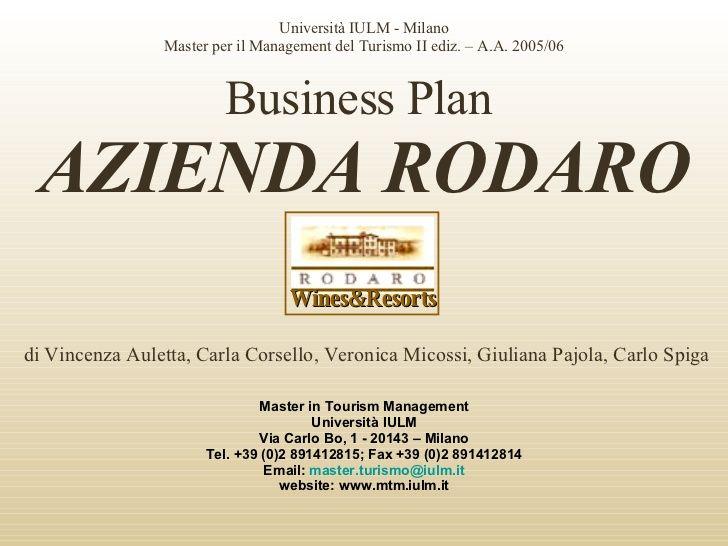 "Business Plan ""Azienda Rodaro"""
