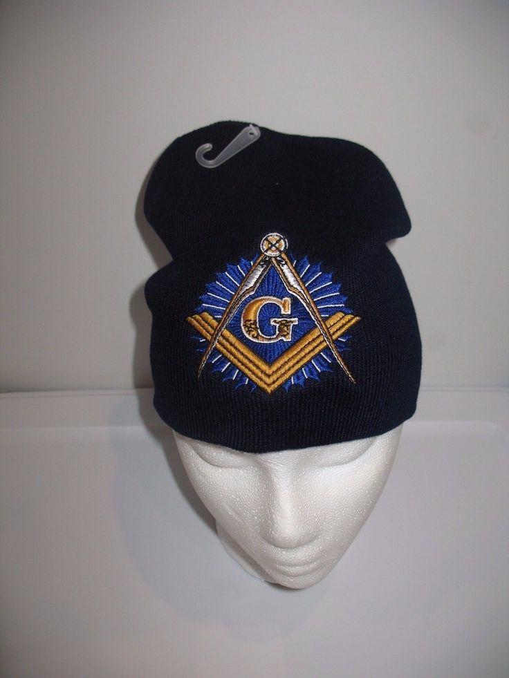 "8"" Dark Navy Blue Mason Masonic Symbol Snow Cap Beanie Skull Cap"