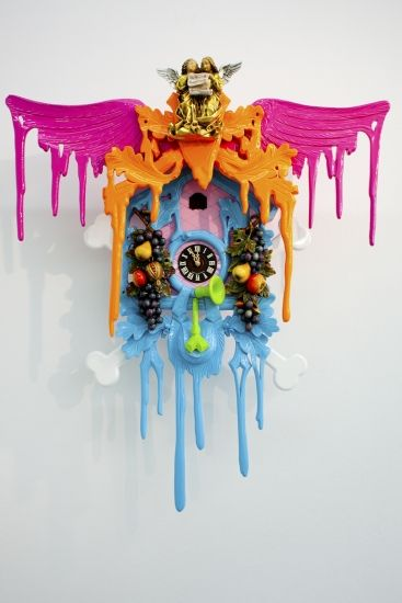pink, orange, blue modern Stefan Strumbel cuckoo clock, AMAZING!!!!