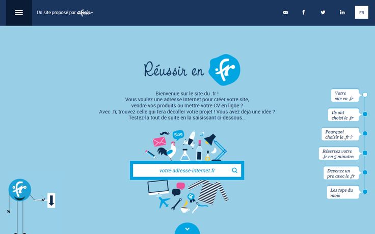 Découvrez http://www.reussir-en.fr le nouveau site de l'Afnic entièrement dédié au .fr ! Vérifiez la disponibilité d'un nom de domaine, créez votre URL en quelques clics et bénéficiez de nombreux conseils pour réussir vos projets avec le .fr !