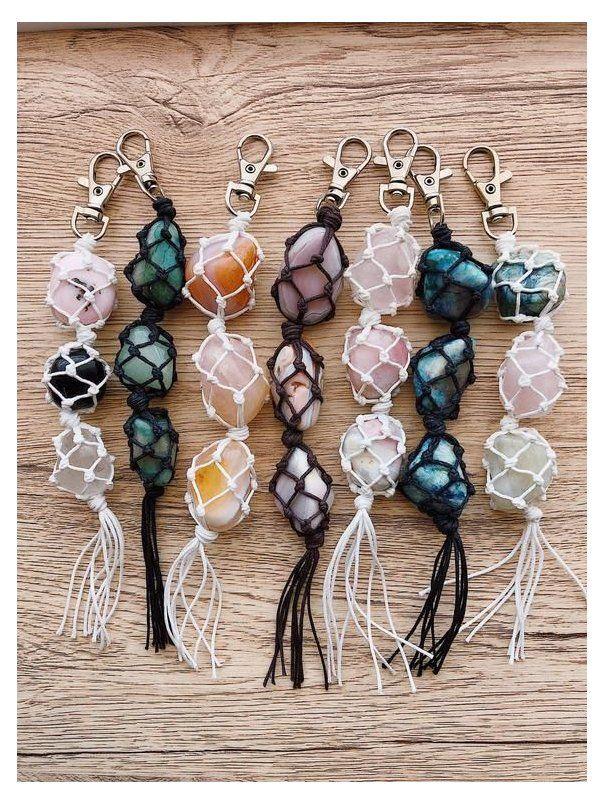 Swivel lobster clasp Rose quartz keyring Boho keyring. Macrame keychain with  rose quartz gemstones