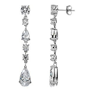 This pair of very elegant and sophisticated sterling silver dangle earrings with cubic zirconium are perfect as bridal jewelry, because they look much more expensive than they are. Every woman needs at least one pair of these affordable earrings for those special occasions.
