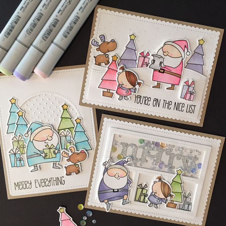 Kid's Christmas cards.   MFT Jingle All the Way stamps and dies. Colored with Copic markers.