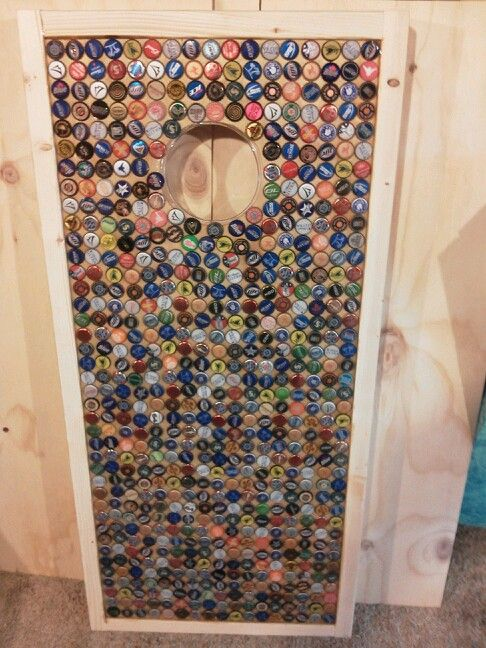 cornhole board set covered with bottlecaps - Cornhole Design Ideas